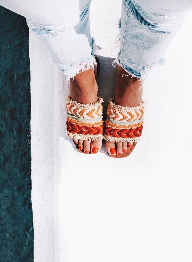 Sandals raffia orange