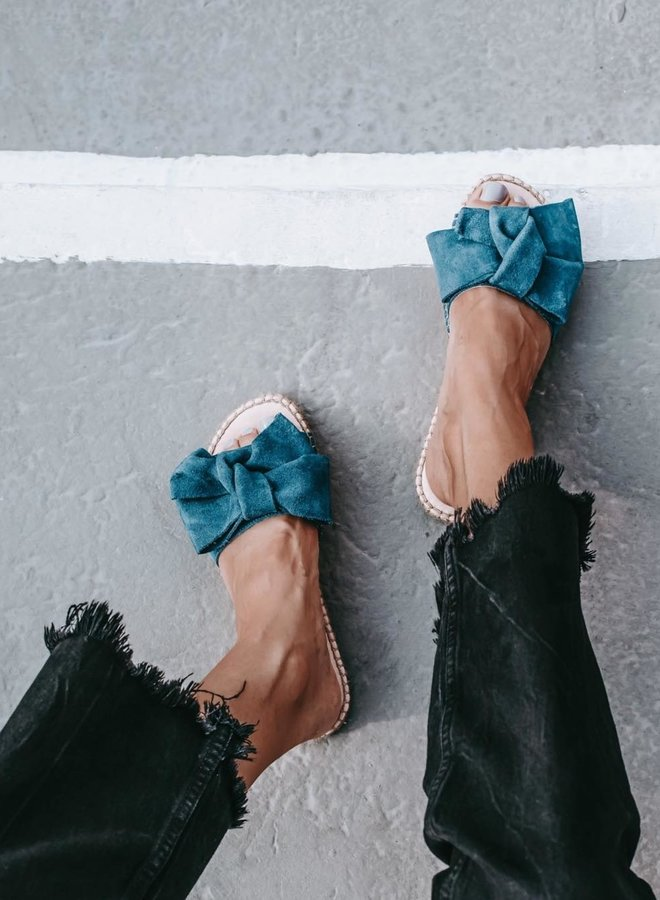 Sandals with bow blue