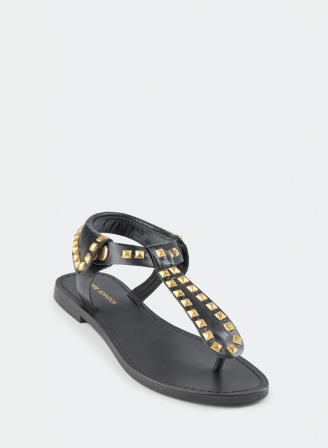 Sandals black / gold studs SS
