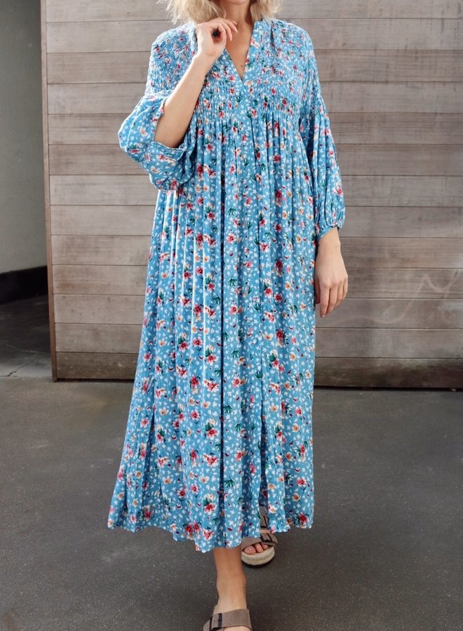 Smock dress flowerpower blue