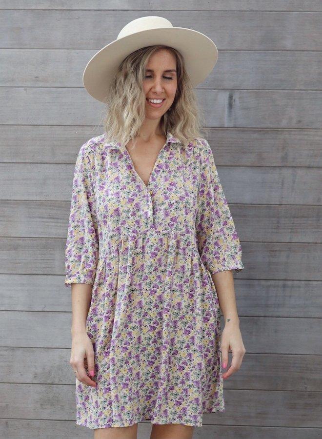 Short dress Elise Lila/yellow