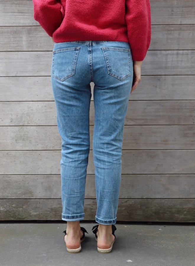 Mom jeans fitted medium blue distressed