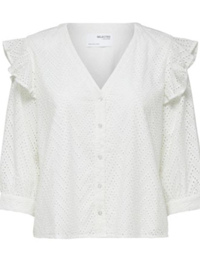 Slfjosa frill shirt snow white
