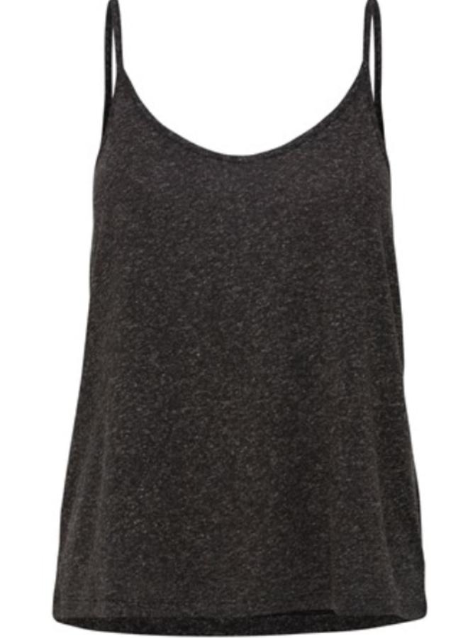 V-neck strap top solid black