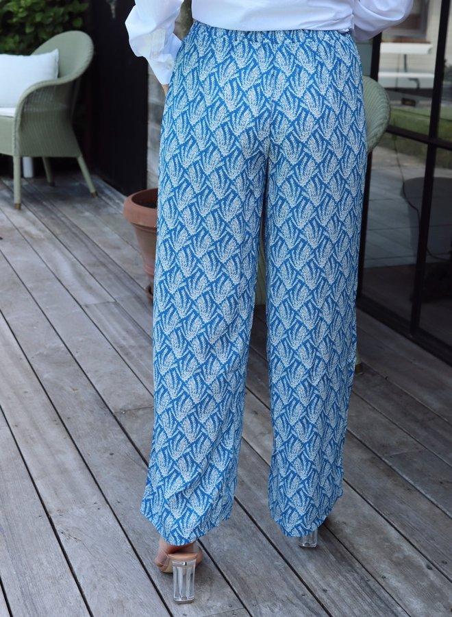 Loose Pants blue leaves