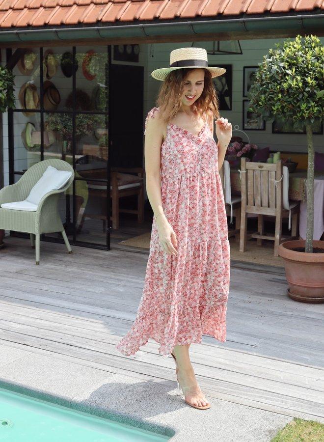 Summer midi dress flowers pink