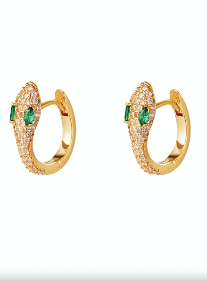 Earrings snake green