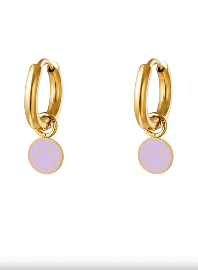 Earrings smileys lila