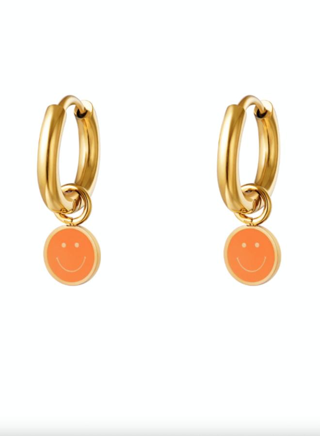 Earrings smileys orange