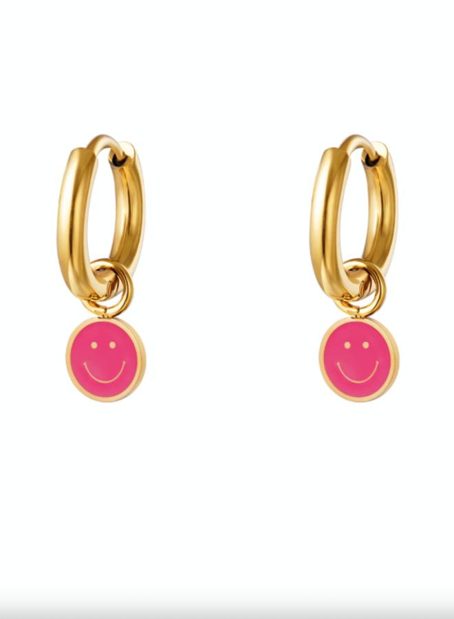 Earrings smileys fuchsia