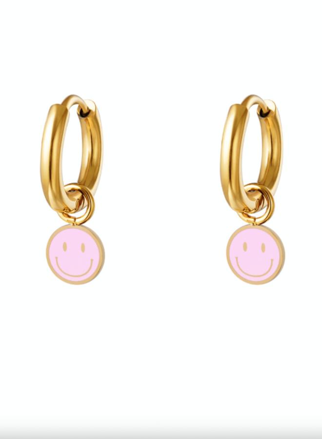 Earrings smileys pink