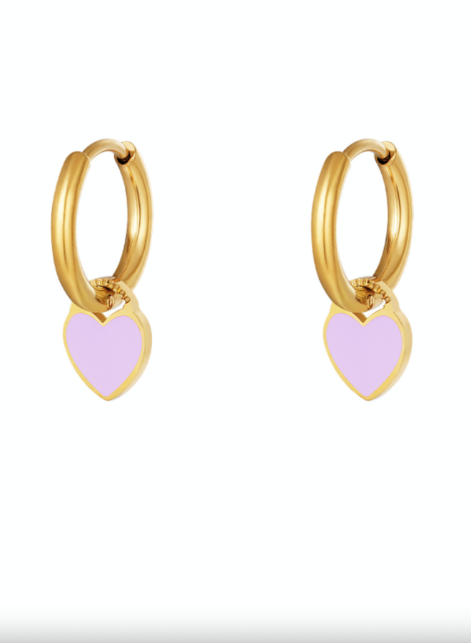 Earrings hearts lila