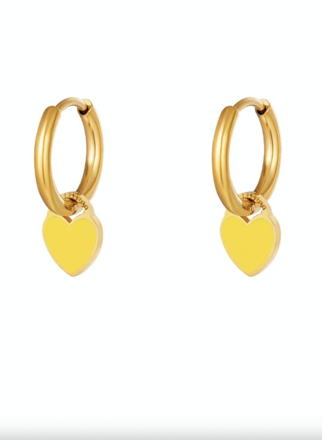 Earrings hearts yellow