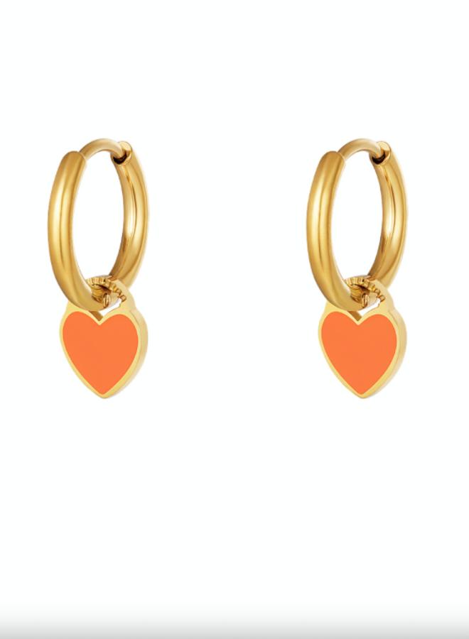 Earrings hearts orange