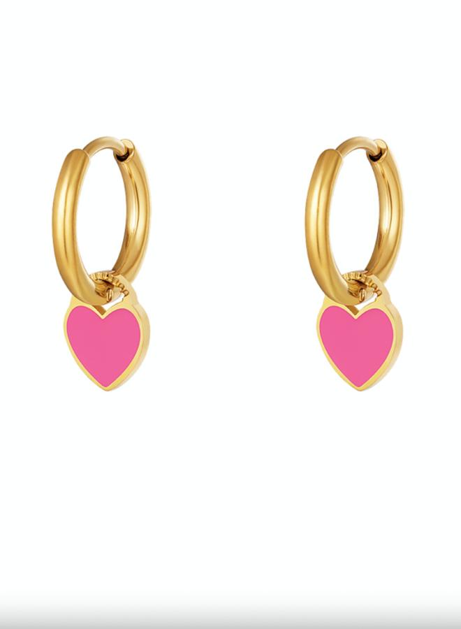 Earrings hearts fuchsia