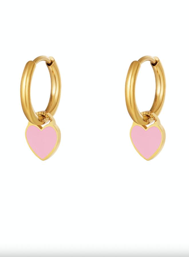Earrings hearts pink