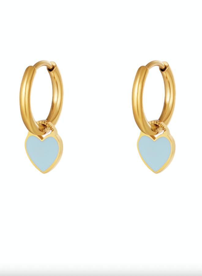 Earrings hearts blue
