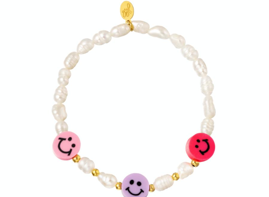Armband parels en smileys fuchsia/lila/pink