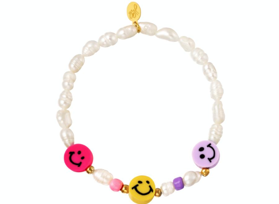 Armband parels en smileys fuchsia/yellow/lila