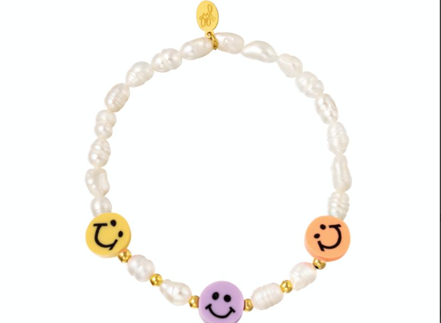 Armband parels en smileys orange/Lila/yellow