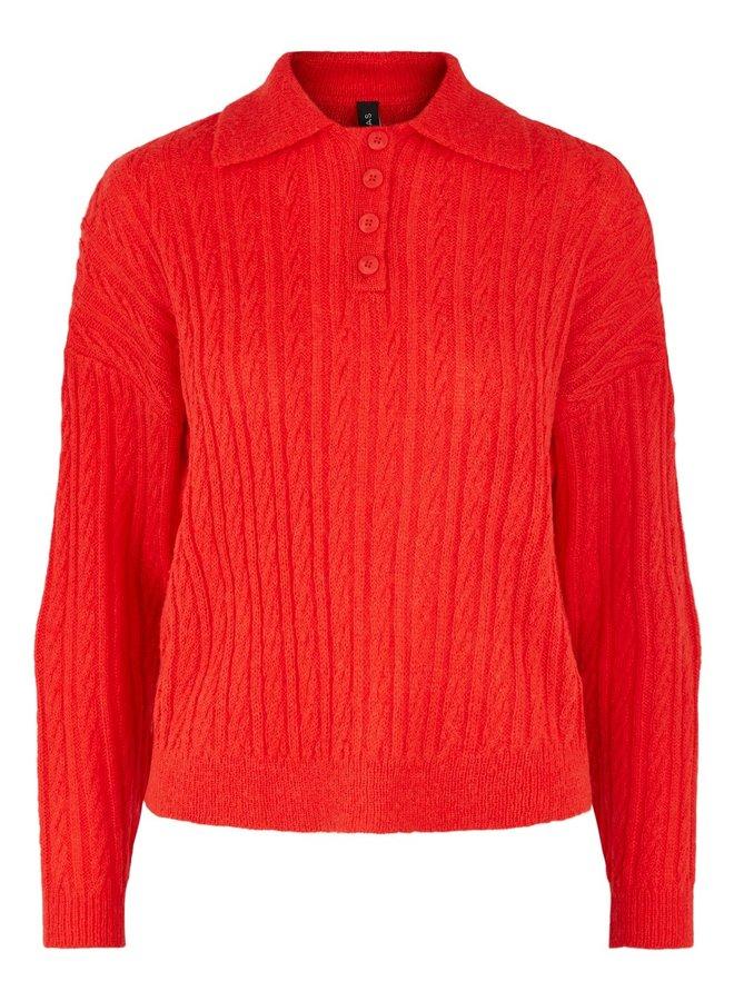 Yasfiery knit polo fiery red