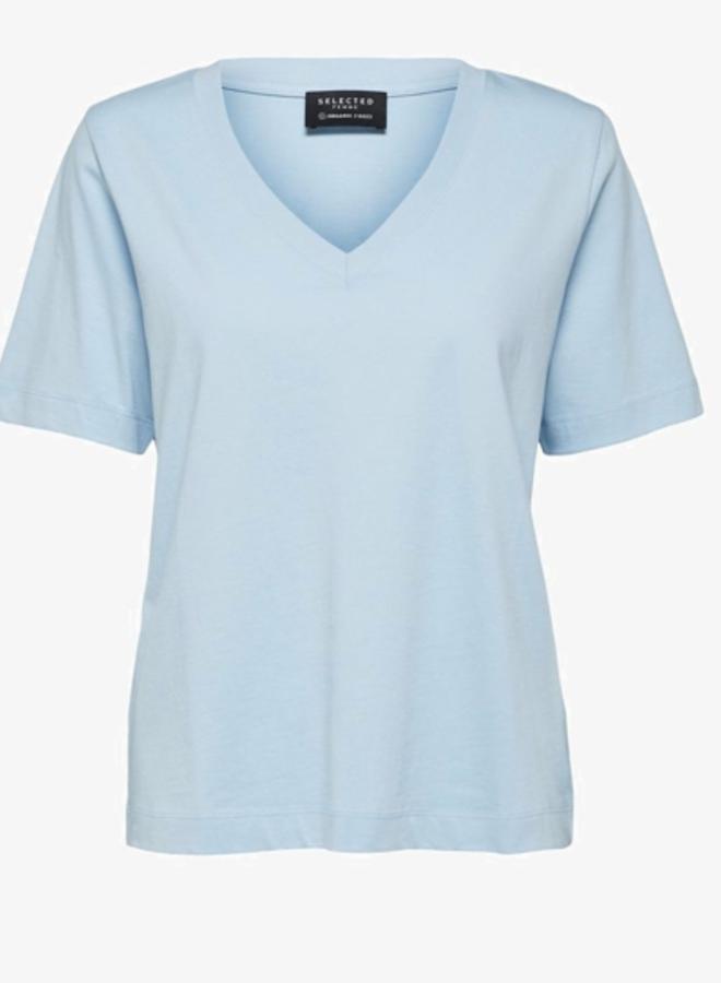 T-shirt V-neck Cashmere Blue NOOS