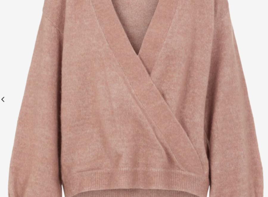 Yasagate wrap knit pullover mocha mousse