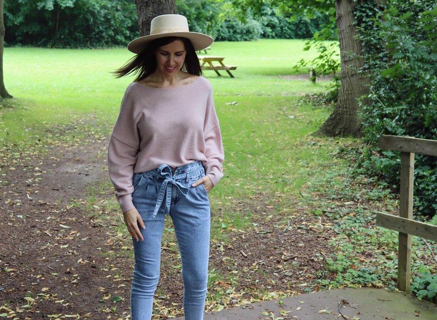 Paperbag jeans light blue