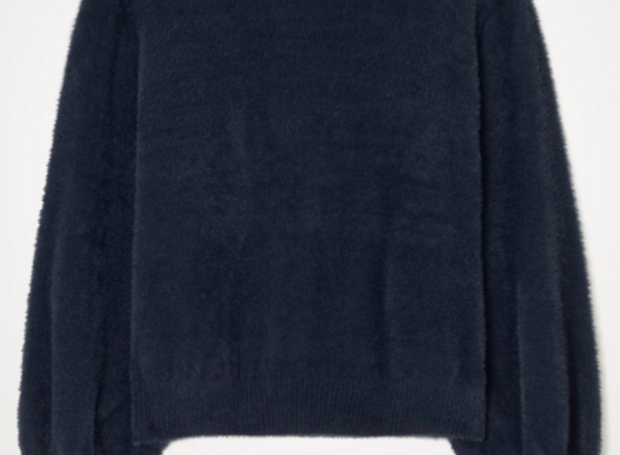 Pull ml col rond navy