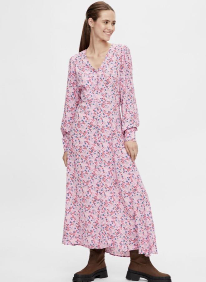 yaslila long v-neck dress