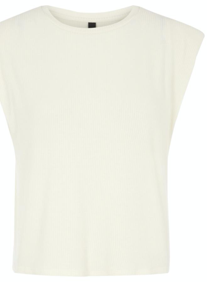 Yaselle ss padded shoulder top eggnog