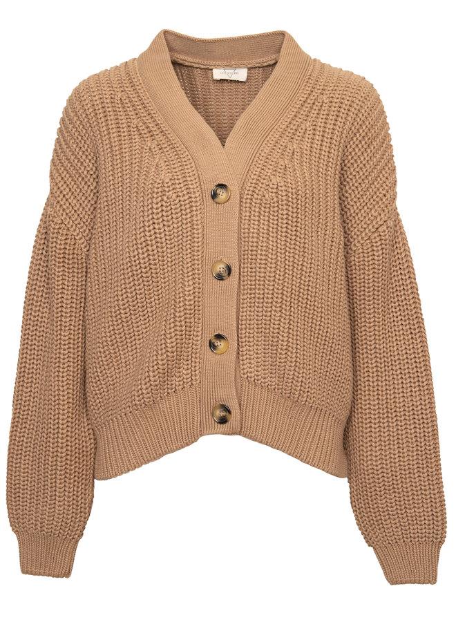 Holly Cotton knit cardigan Tan XS/S