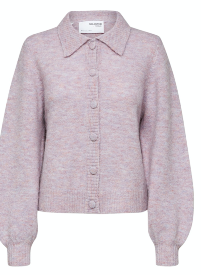 Slfsia-louisa knit polo cardigan chalk pink