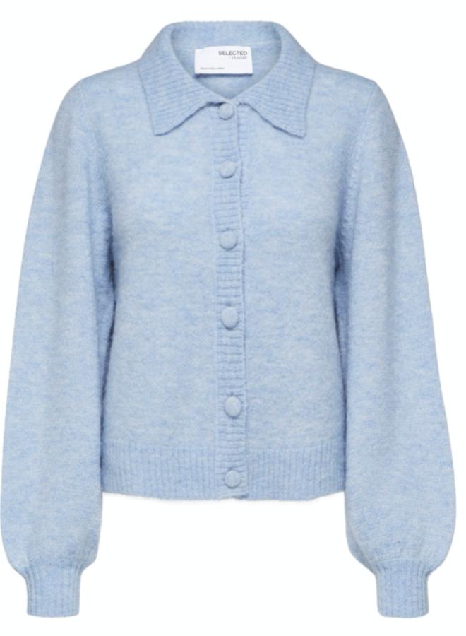 Slfsia-louisa knit polo cardigan brunnera blue