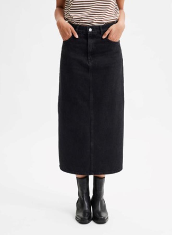 Slfmolly midi black denim skirt