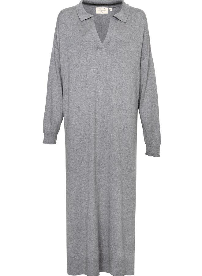 Boy long polo knit dress grey melange XS/S