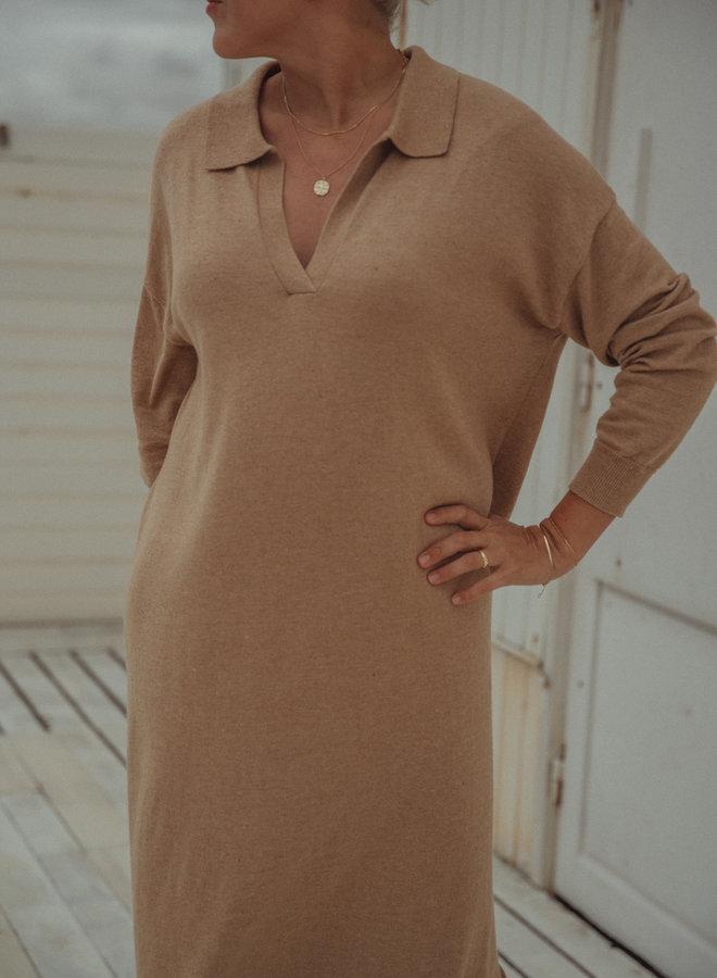 Boy long polo knit dress beige XS/S