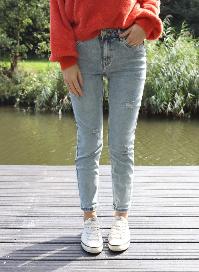 Relax jeans light blue distressed