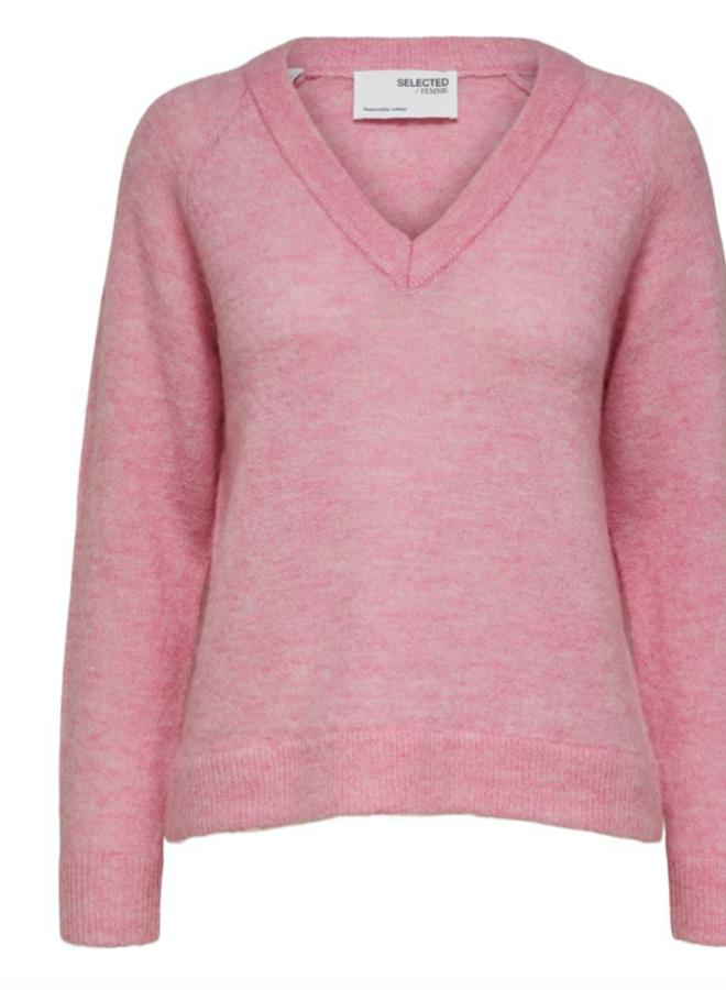Slflulu knit v-neck prism pink