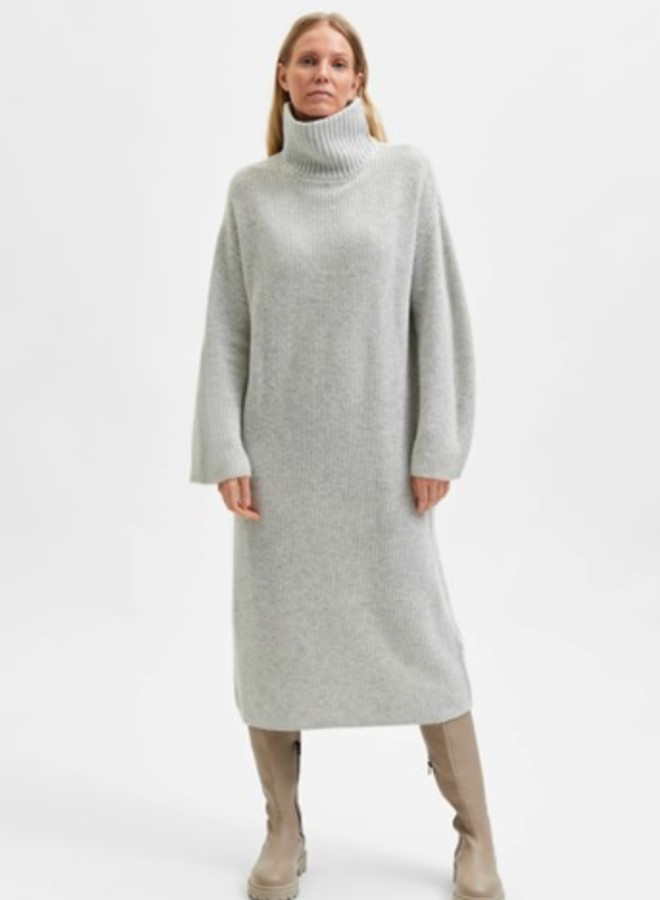 Slfelina ls knit highneck dress light grey