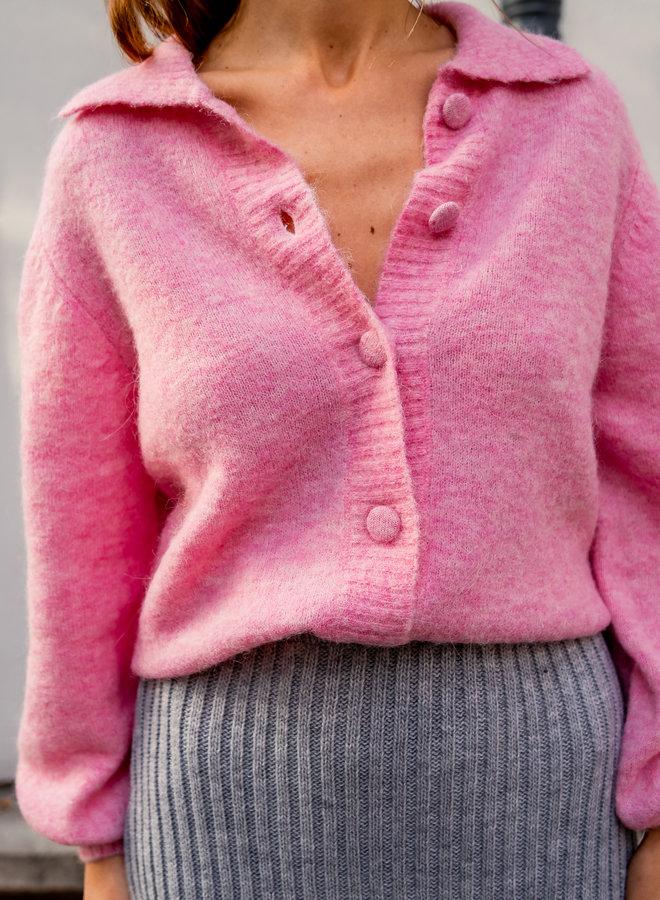 Slfsia-louisa knit polo cardigan prism pink