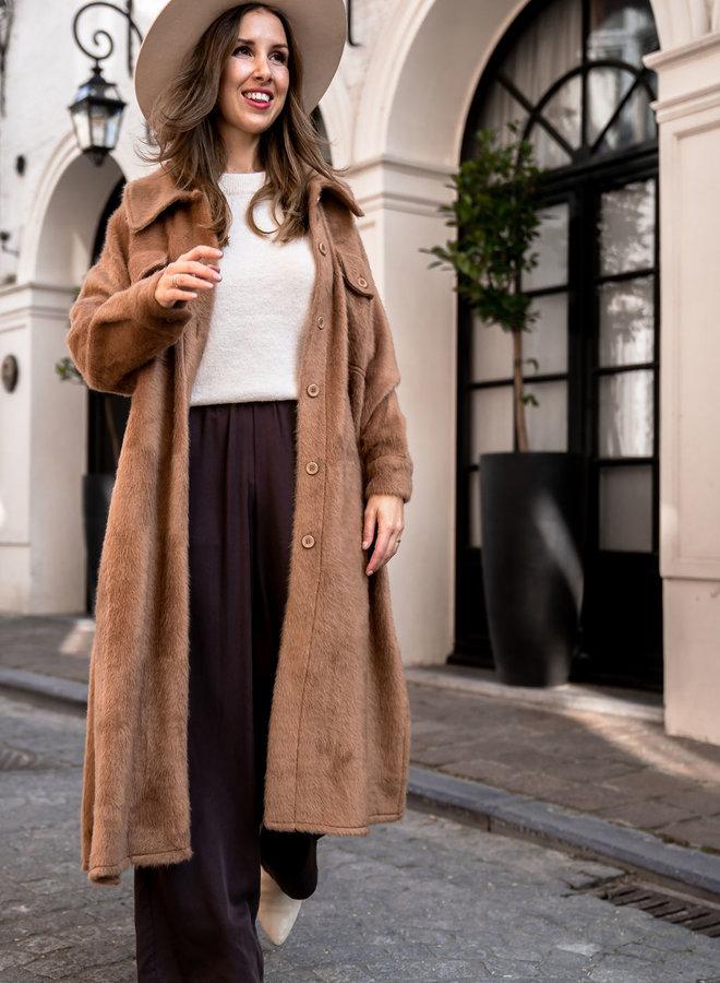 Coat Josie maxi camel