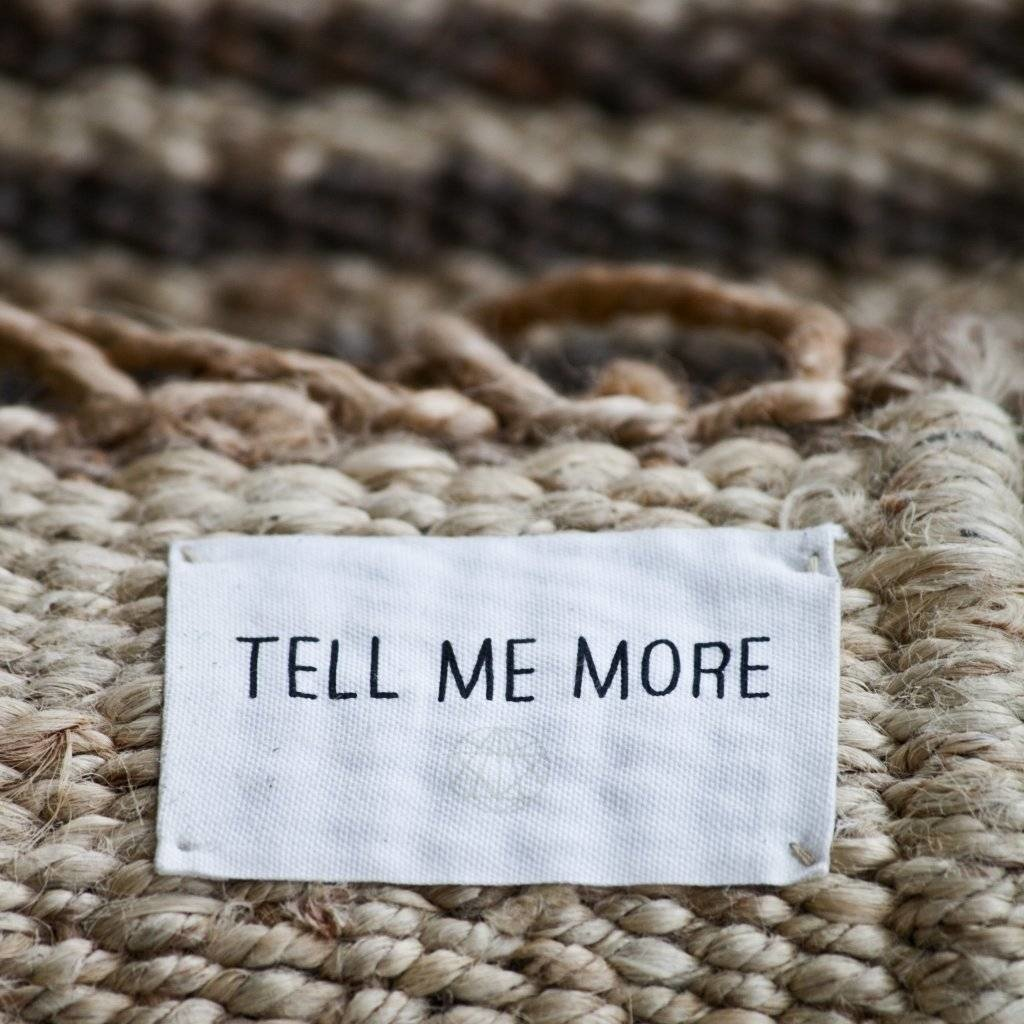 Tell Me More Alfombra Nórdica Étnica de Cáñamo - Blanco Desteñido- 140x200cm - Tell me more