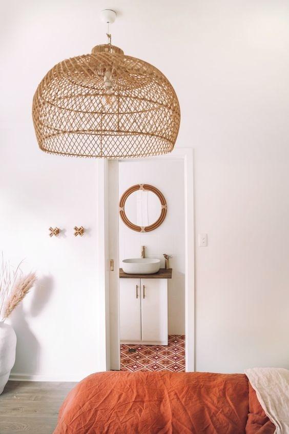 Petite Lily Interiors Lámpara de techo de ratán - natural - Ø39cm