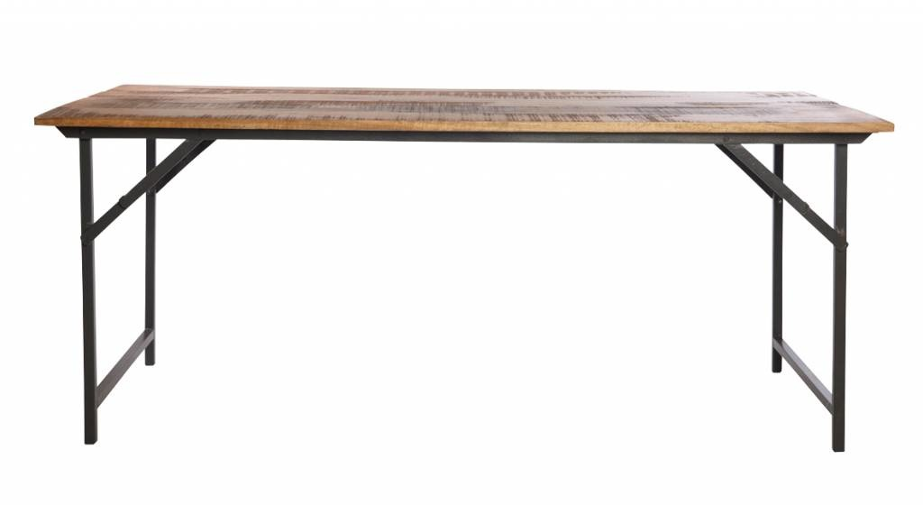 Society of Lifestyle (House Doctor) Mesa Industrial Plegable - Metal y Madera- 180x80cm - House Doctor