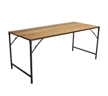 Petite Lily Interiors Mesa Industrial Plegable - Metal y Madera - 180x75xh76cm - One World Interiors