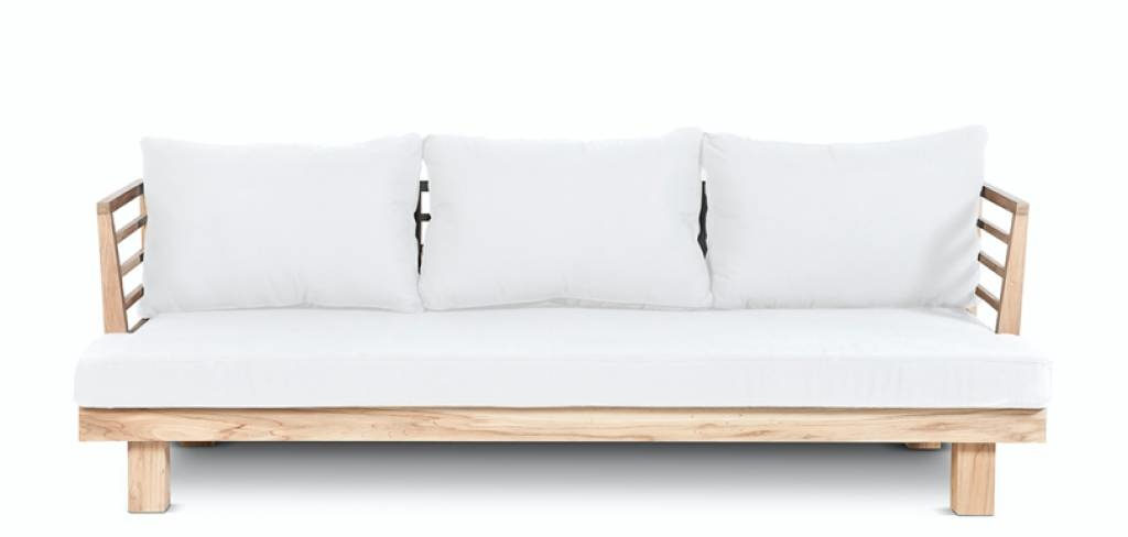 Dareels Sofá de exterior STRAUSS - polyester y teca reciclada - Blanco - 214x82x67cm - Dareels