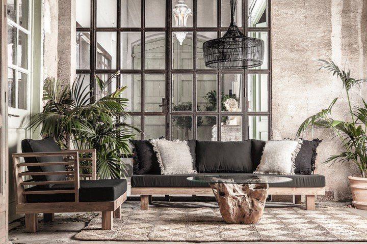 Dareels Sofá de exterior STRAUSS - polyester y teca reciclada - negro  - 214x82cm - Dareels