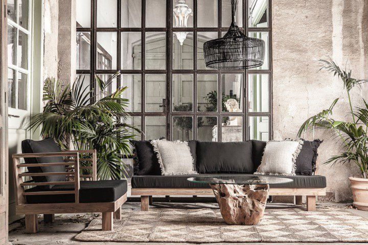 Dareels Sillón de exterior STRAUSS - polyester y teca reciclada - negro  - 84x82cm - Dareels