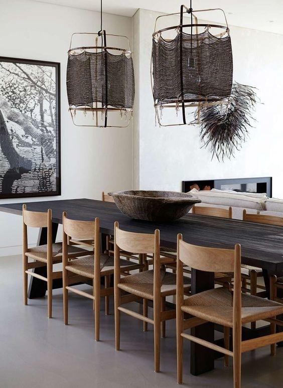 Ay Illuminate Lámpara de techo de bambú Z1 con seda y cachemira - Noir - Ø67xh100 CM - black - Ay illuminate